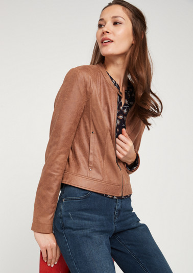 Bomber jacket made from elegant faux leather from comma