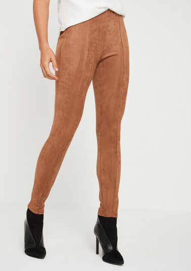 Elegant pants in faux suede from comma