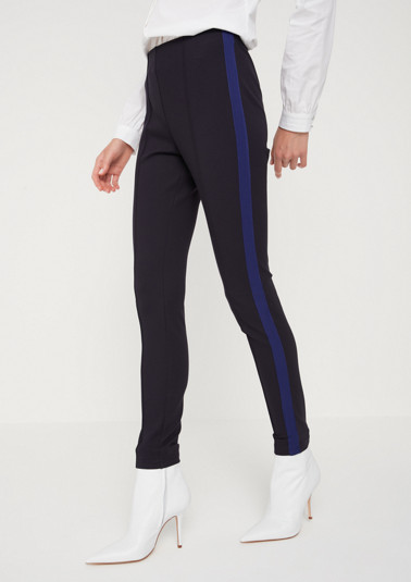 Interlock stirrup trousers with tuxedo stripes from comma