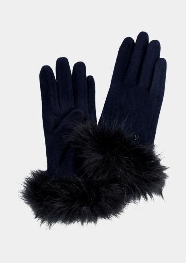 Strickhandschuhe mit Fake-Fur Besatz