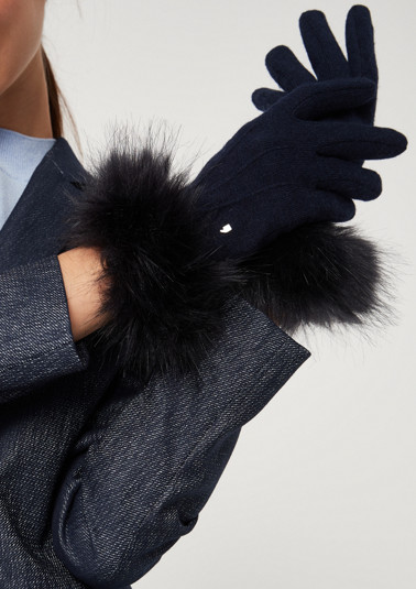 Knitted gloves with a faux fur trim from comma
