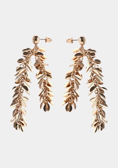 Goldfarbene Ohrringe mit Kettchenanhängern