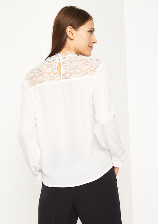 Crêpe blouse with delicate lace embellishment from comma
