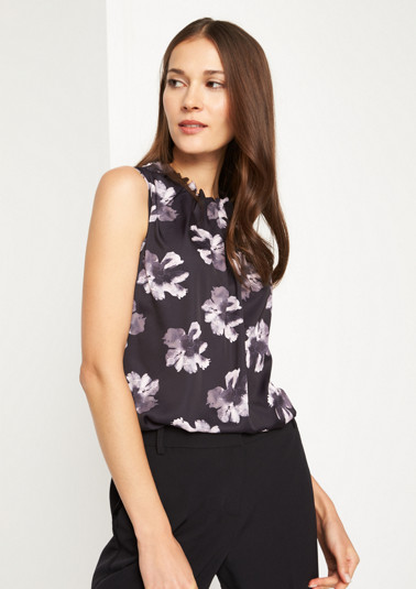 Satin top with a decorative all-over print from comma