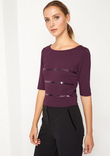 Kurzarm-Jerseyshirt mit Pailettenverzierungen