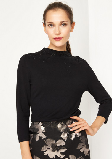 Fine knit jumper with 3/4 sleeves and sparkly embellishments from comma