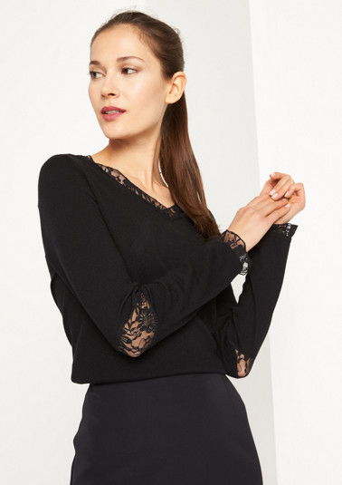 Fine knit jumper with delicate lace embellishment from comma