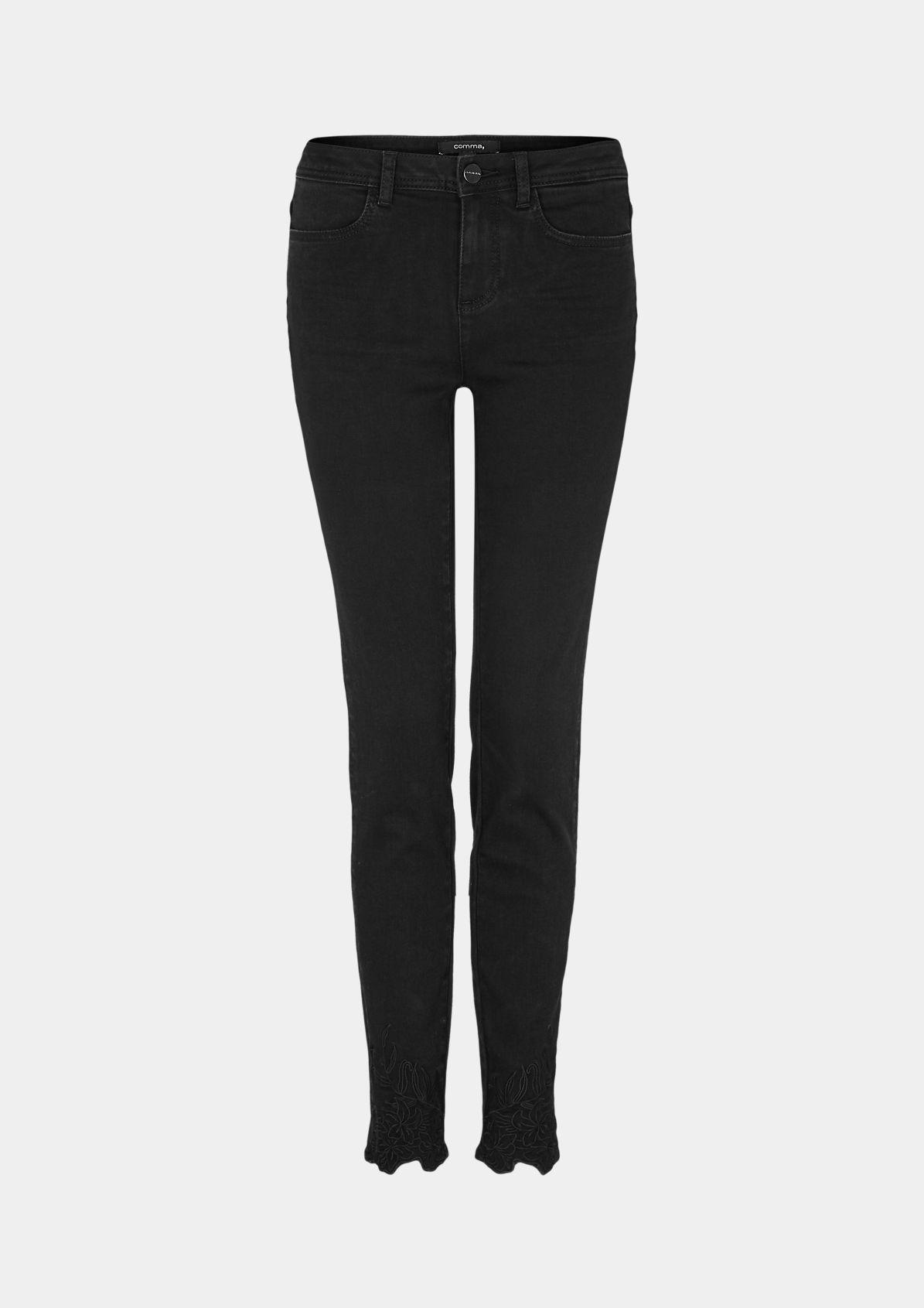 Black-Denim Jeans mit Stickereien