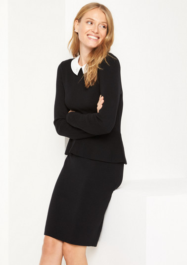 Fine knit dress with a detachable collar from comma