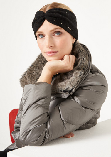 Fine knit headband with rhinestones from comma