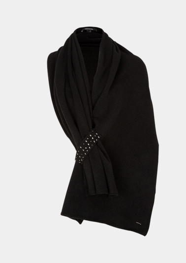 Soft knit cape with rhinestone embellishments from comma