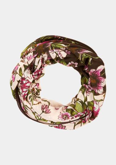 Lightweight snood with an all-over floral print from comma