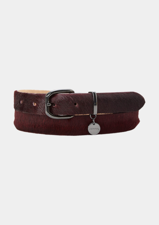 Leather belt with a cowhide trim from comma