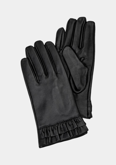 Leather gloves with frills from comma