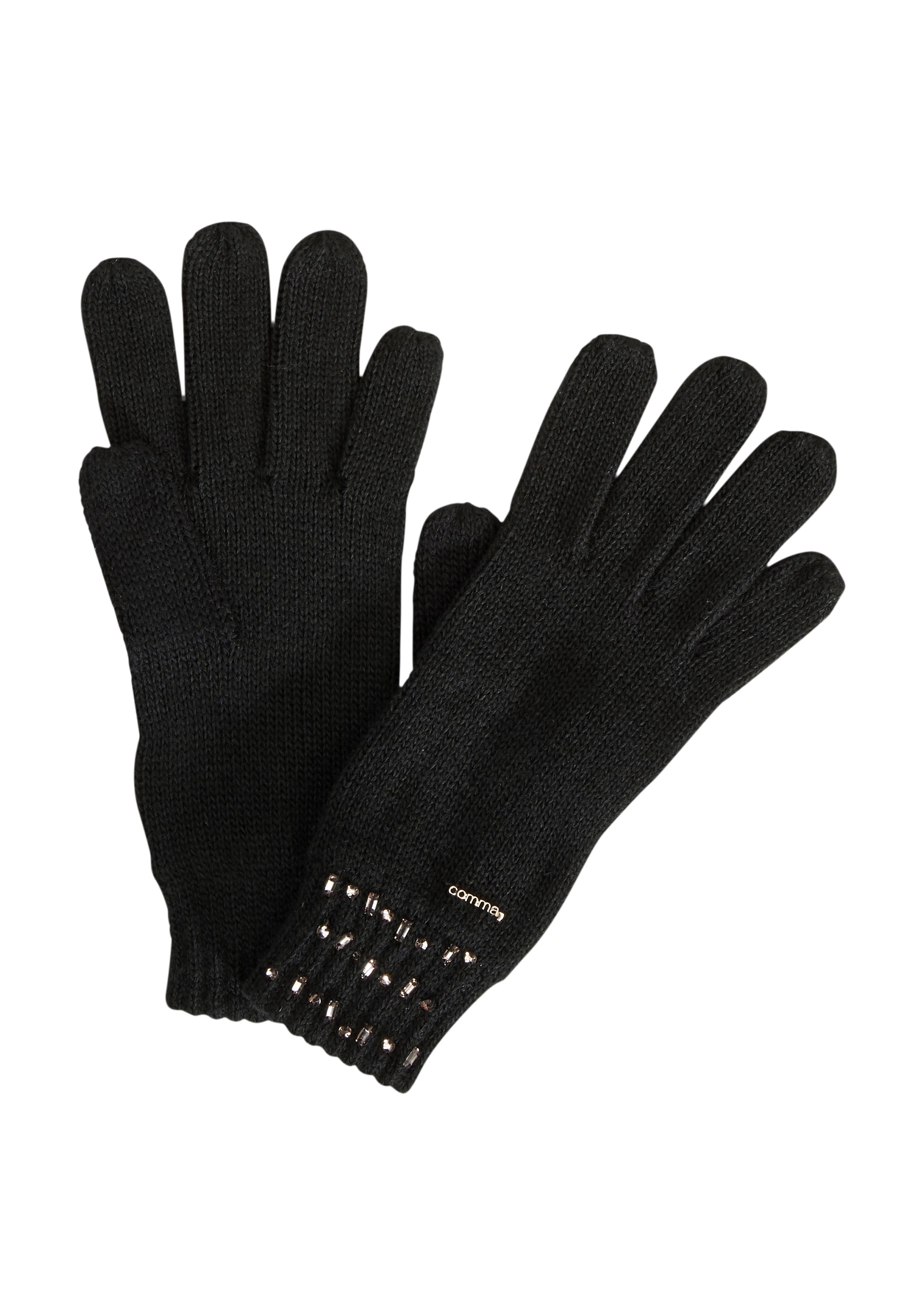 Strickhandschuhe | Accessoires > Handschuhe > Strickhandschuhe | Grau/schwarz | 100% polyacryl | comma