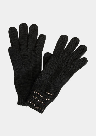 Fine knit gloves with rhinestone embellishments from comma
