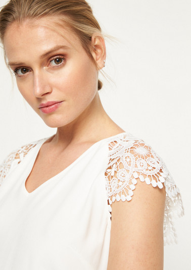 Short sleeve blouse with delicate lace embellishments from comma