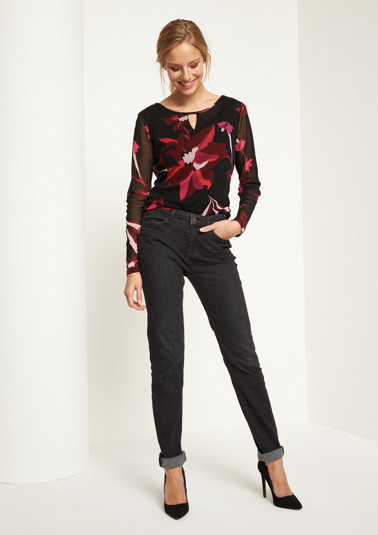 Delicate mesh long sleeve top with a colourful pattern from comma