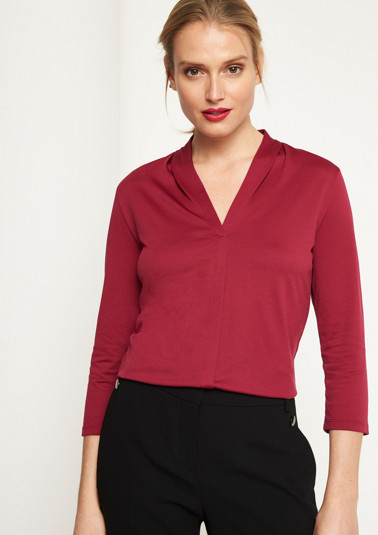 3/4-Arm Jerseyshirt mit V-Ausschnitt