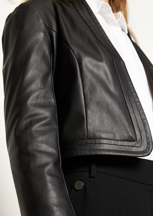 Blazerjacke aus weichem Lederimitat