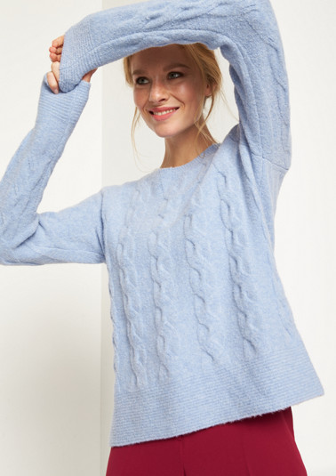 Soft knit jumper with a cable pattern from comma