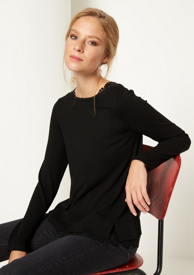 Fine knit jumper with lace embellishment from comma