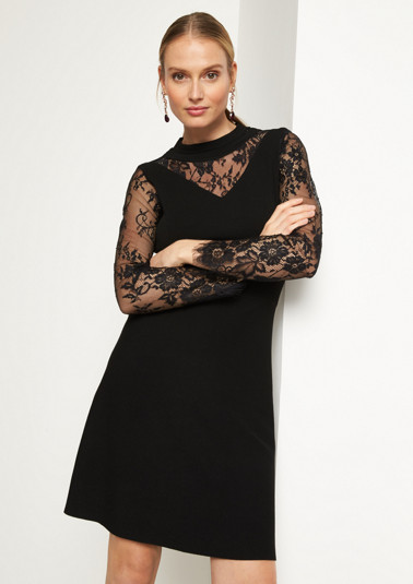 Elegant knit dress with delicate lace embellishment from comma