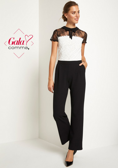 Business jumpsuit with delicate lace embellishments from comma