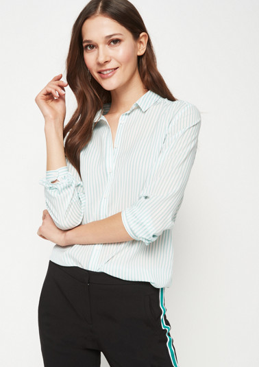 Chiffon blouse with fine vertical striped pattern from comma