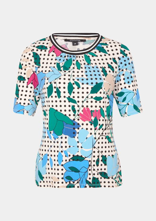 Jerseyshirt mit dekorativem Allovermuster