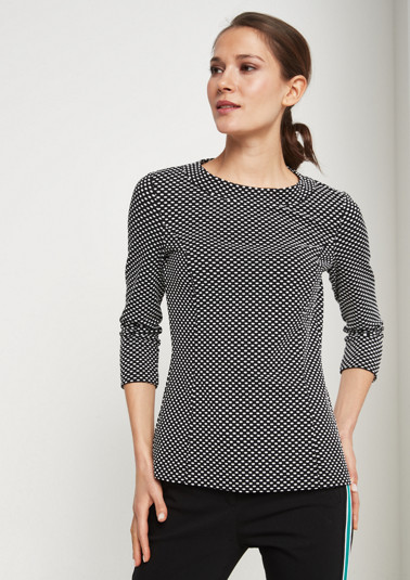 T-shirt with 3/4-length sleeves and a minimal pattern from comma