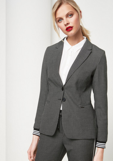 Business blazer with decorative minimal pattern from comma