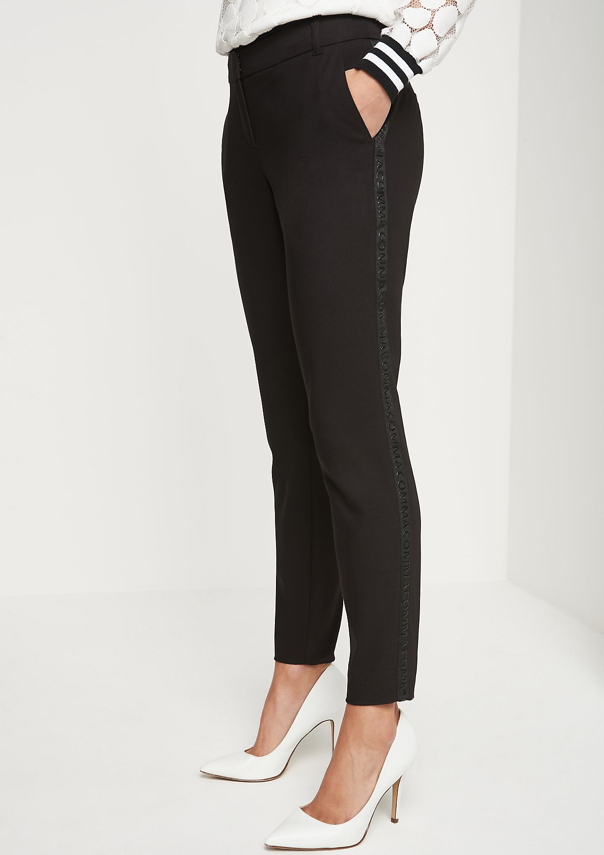 Business trousers with the logo appliqués from comma