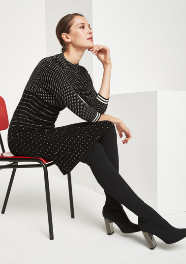 Knitted dress with 3/4-length sleeves and a two-tone textured pattern from comma