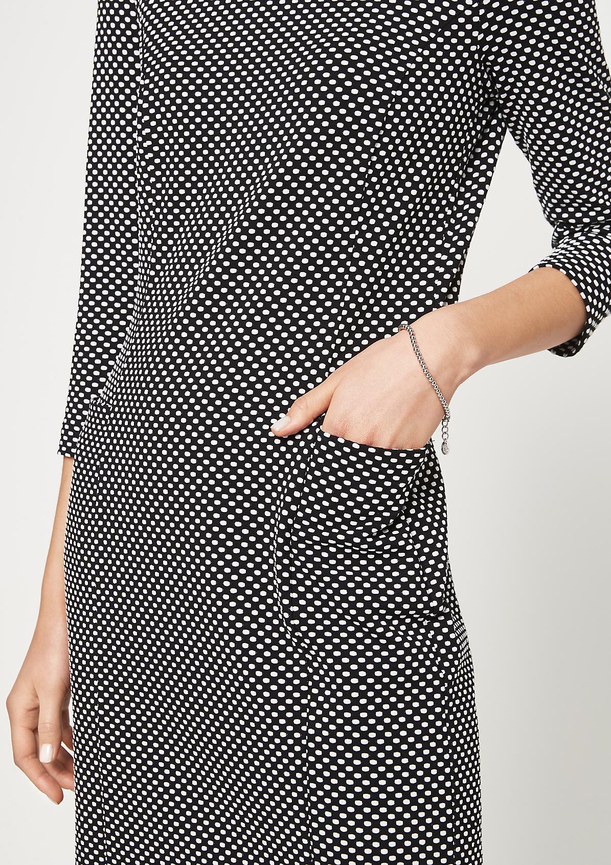 3/4-Arm Jerseykleid mit feinem Jacquardmuster