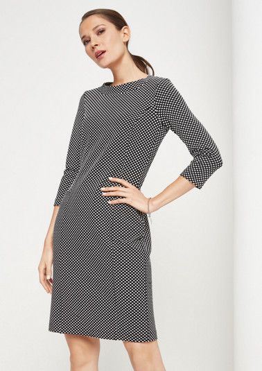 Jersey dress with 3/4-length sleeves and a fine jacquard pattern from comma