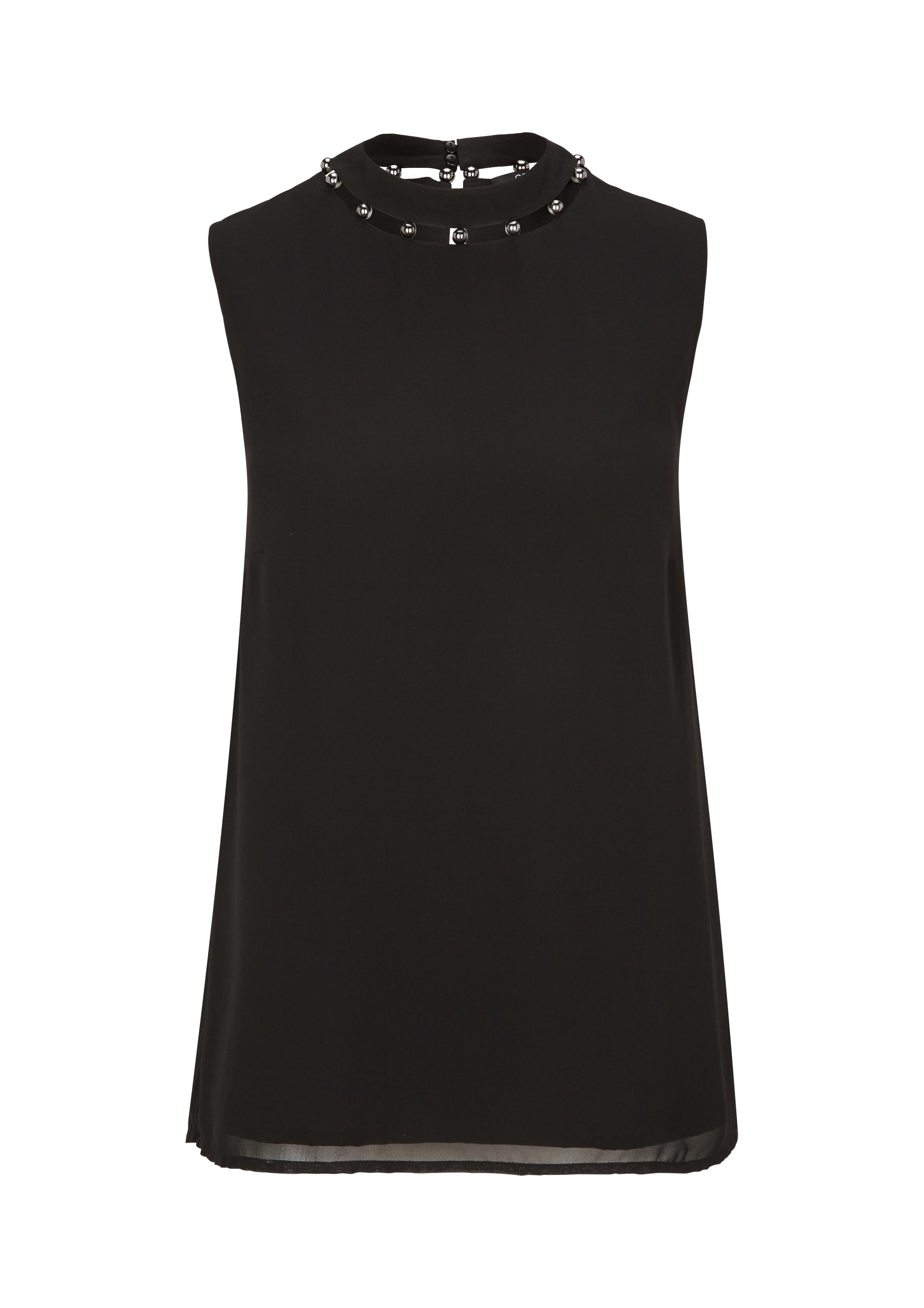 Blusentop | Bekleidung > Tops | Grau/schwarz | 100% polyester| futter: 100% polyester | comma