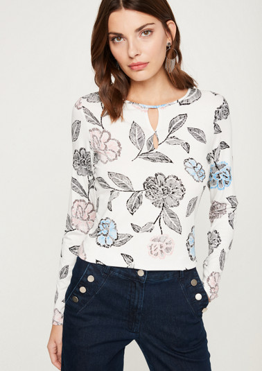 Long sleeve jersey top with an all-over print from comma