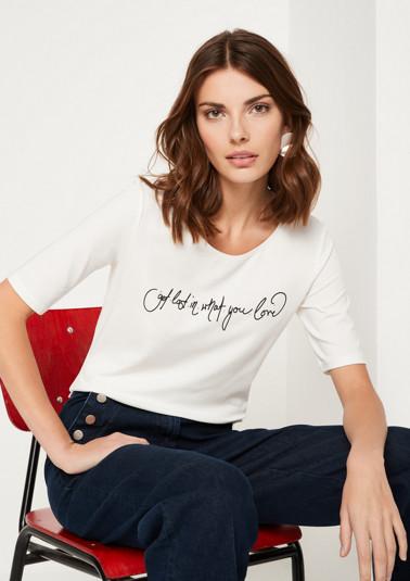 Kurzarm-Jerseyshirt mit Statement-Print