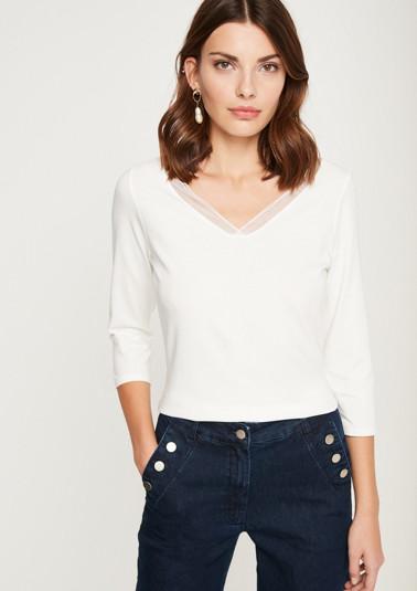 3/4-Arm Jerseyshirt mit hauchzarter Blende