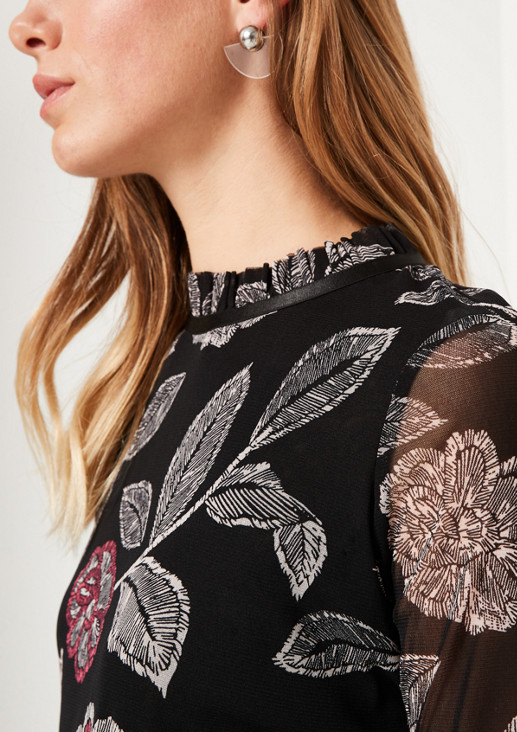 Delicate mesh T-shirt with an all-over floral pattern from comma