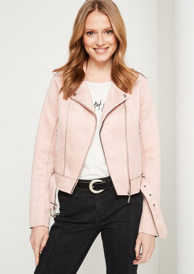 Biker jacket made of soft faux suede from comma