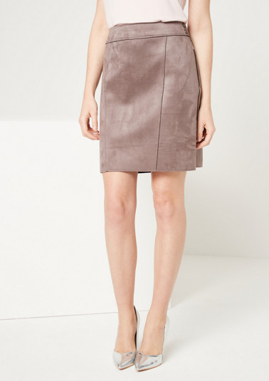 Mini skirt made of soft faux leather from comma