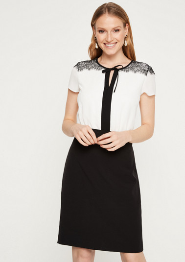 Elegant business dress with decorative lace from comma