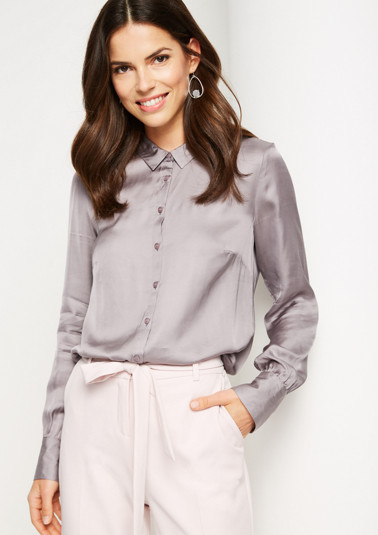 Business blouse in shiny satin from comma