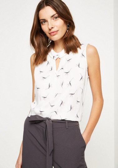 Casual satin top with all-over pattern from comma