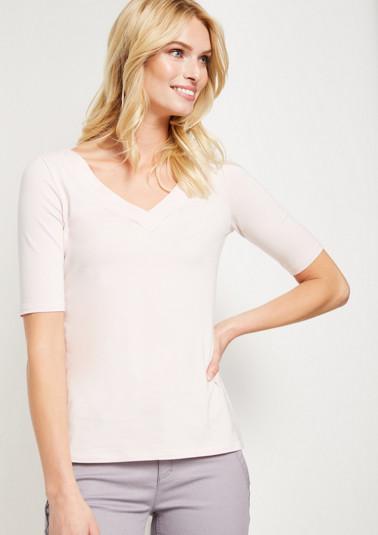 Jersey-Kurzarmshirt mit V-Ausschnitt