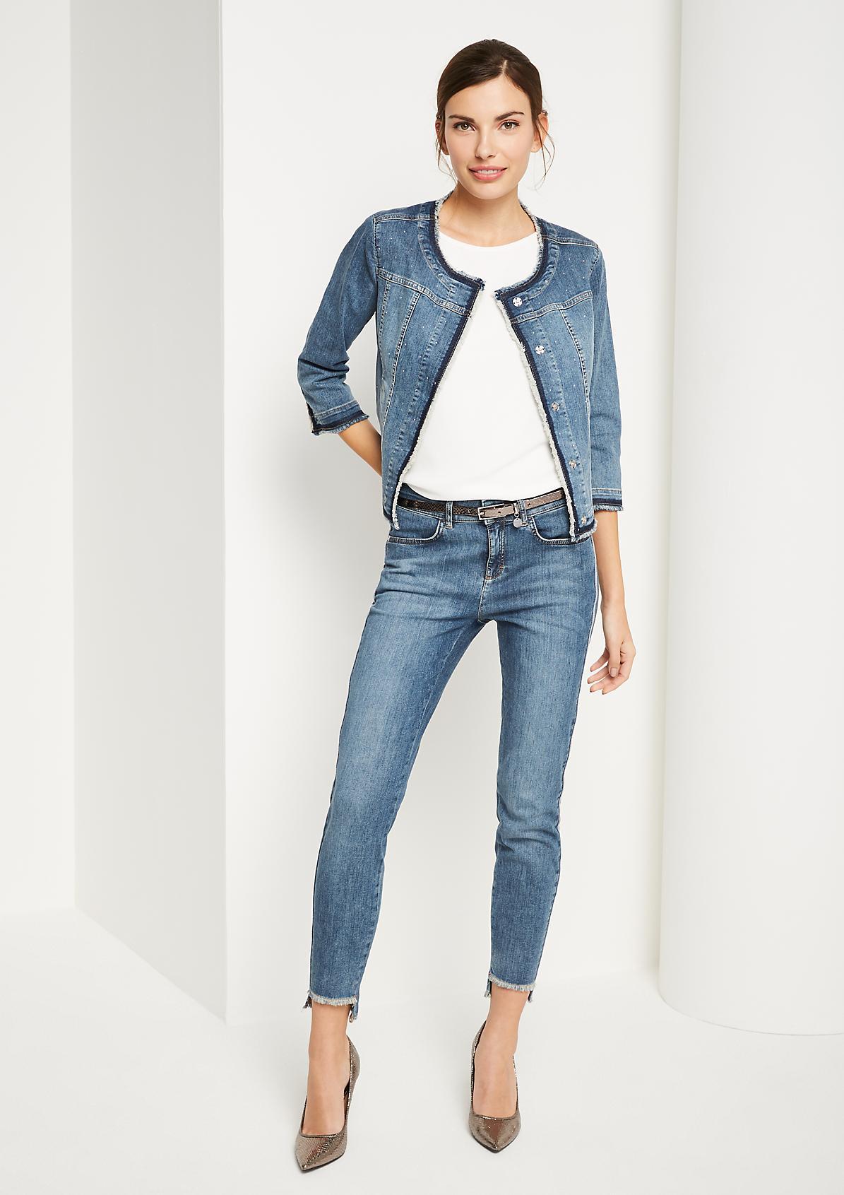 3/4-Arm Jeansjacke mit Glitzersteinverzierungen