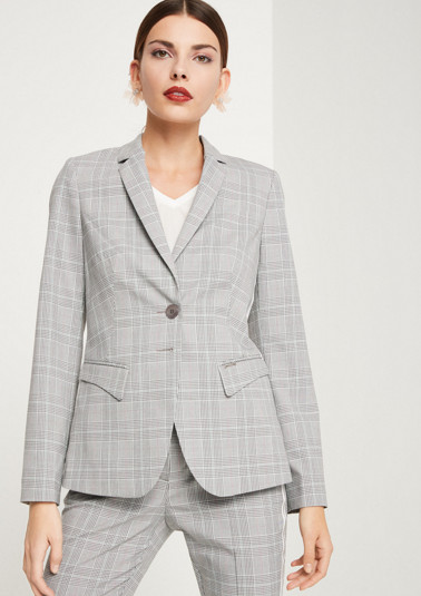 Elegant business blazer with a check pattern from comma