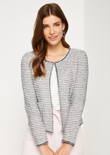 Casual blazer with decorative jacquard striped pattern from comma